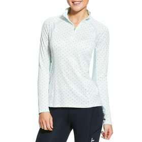 Ariat Sunstopper 2.0 1/4 Zip Ladies Base Layer Top - Duck Egg Dot