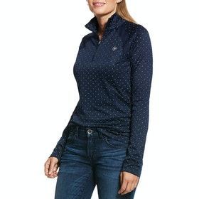 Ariat Sunstopper 2.0 1/4 Zip Ladies Base Layer Top - Navy Dot