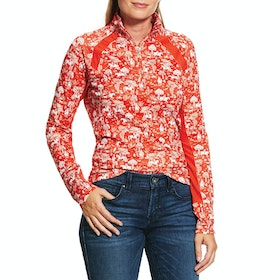 Ariat Sunstopper 2.0 1/4 Zip Ladies Base Layer Top - Red Clay Toile