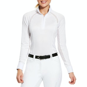 Ariat Sunstopper Pro 2.0 1/4 Zip Damen Turnier-Shirt - White