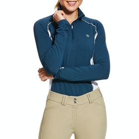 Ariat Tri Factor Quarter Zip Ladies Top - Deep Petroleum