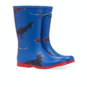 Joules Jnr Roll Up Gummistiefel - Blue Dinos