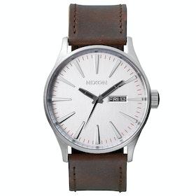 Nixon Sentry Leather Herren Uhr - Silver Brown
