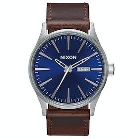 Nixon Sentry Leather Watch - Blue Brown