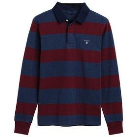 Gant The Original Barstripe Heavy Rugger Rugby Top - Port Red