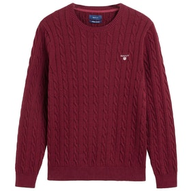 Knits Gant Cotton Cable Crew - Port Red