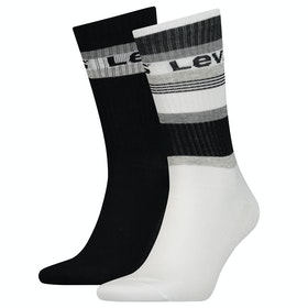Levi's Regular Cut Stripe Blocks 2 Pack Socks - Black Grey