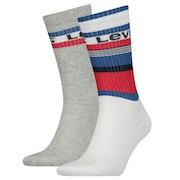 Levi's Regular Cut Stripe Blocks 2 Pack Fashion Socks