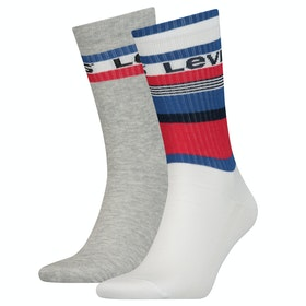 Calcetines Levi's Regular Cut Stripe Blocks 2 Pack - White Blue Red