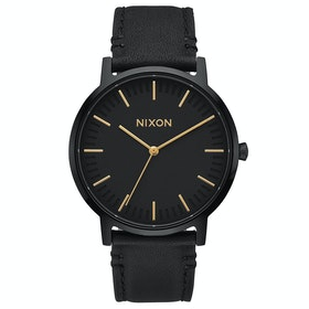 Nixon Porter Leather Watch - All Black Gold