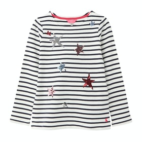 Joules Harbour Luxe Girls Top - White Stripe Star