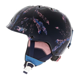 Roxy Happyland Girls Ski Helmet - Medieval Blue Arctic Leaves