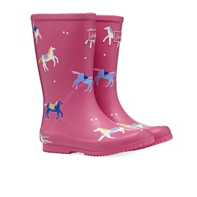 Joules Jnr Roll Up Gummistiefel - Pink Horses
