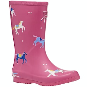 Kalosze Joules Jnr Roll Up - Pink Horses