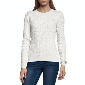 Gant Stretch Cotton Cable Crew Neck Women's Sweater - Eggshell