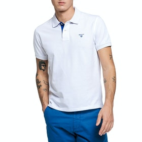 Gant Contrast Collar Men's Polo Shirt - White