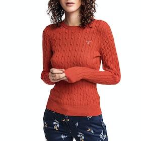 Gant Stretch Cotton Cable Crew Neck Women's Sweater - Blood Orange