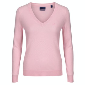 Gant Superfine Lambswool V-neck Women's Knits - Preppy Pink