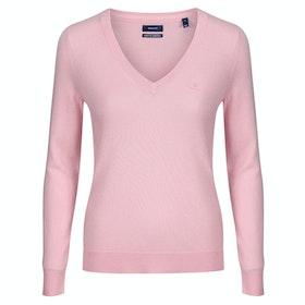 Gant Superfine Lambswool V-neck Women's Knits - Preppy Pink