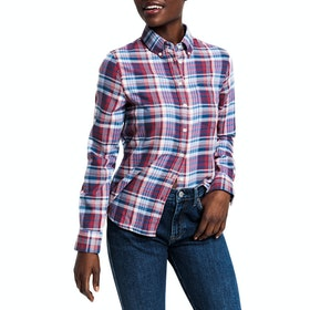 Gant Faded Winter Twill Check Women's Shirt - Mahogany Red