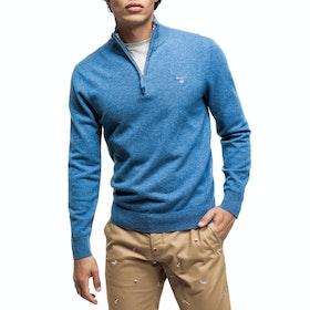 Gant Lambswool Half Men's Sweater - Stone Blue Melange