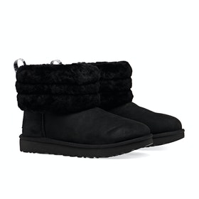 UGG Fluff Mini Quilted Damen Stiefel - Black