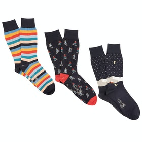 Corgi 3 Pack Cotton Gift Box Men's Socks - Winter Nights