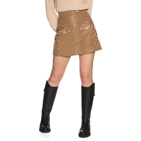 Free People Alanis Moto Mini Women's Skirt - Sand