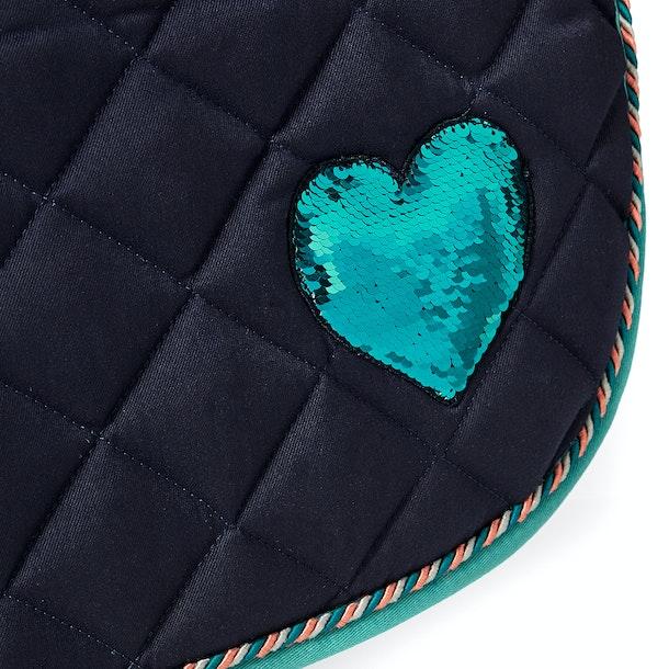 Horka Red Horse Sequin Heart Gp Saddlepads