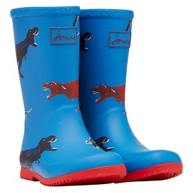 Joules Jnr Roll Up Boys Wellingtons - Blue Dinos