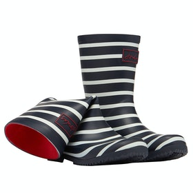 Joules Jnr Roll Up Boys Wellingtons - Navy Stripe