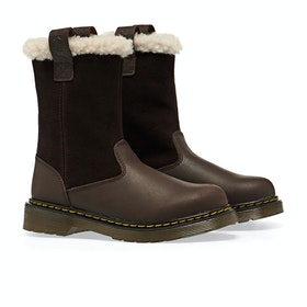 Dr Martens Juney Kinder Stiefel - Dark Brown Republic Hi Suede Wp