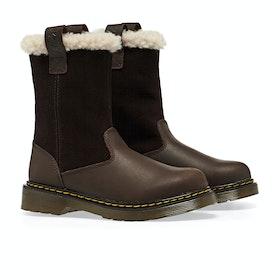 Dr Martens Juney Kid's Boots - Dark Brown Republic Hi Suede Wp