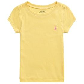 Polo Ralph Lauren Crew Neck Knit Girl's Short Sleeve T-Shirt - Signal Yellow Baja Pink Multi