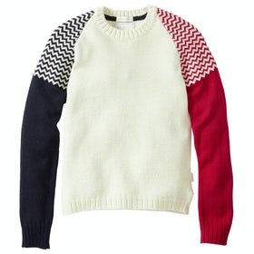 Sweater Peregrine Made In England Aspen Crew - Red Navy Ecru