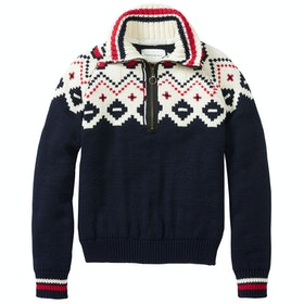 Peregrine Made In England Kendal Zip Neck Pullover - Navy
