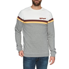 Lightning Bolt Color Block Fleece Crew Sweater - White