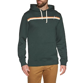 Lightning Bolt Stripe Fleece Pullover Hoody - Darkest Spruce