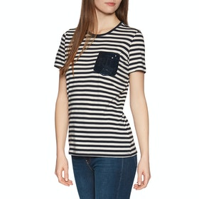Lauren Ralph Lauren Birkitt SS Top - Lauren Navy/mascarpone Cream