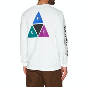 T-Shirt à Manche Longue Huf Prism Triple Triangle - White
