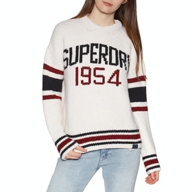 Superdry Intarsia Slouch Knit Womens Sweater - Cream