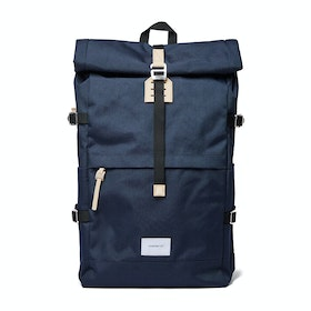Sandqvist Bernt Backpack - Navy With Natural Leather