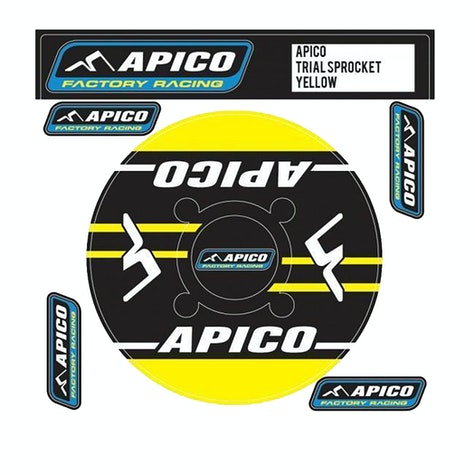Apico Trials Rear Sprocket Sticker 43T Decal Sheet