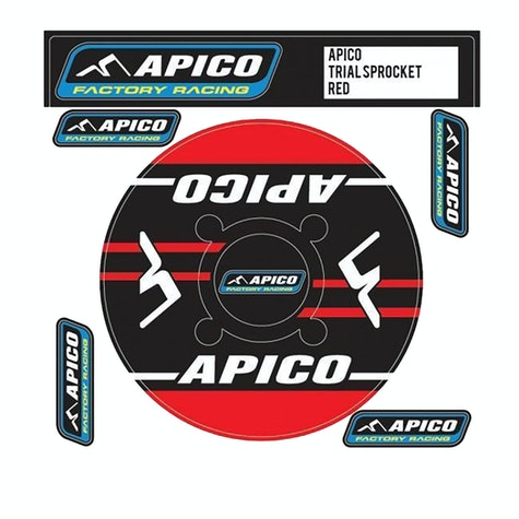 Decal Sheet Apico Trials Rear Sprocket Sticker 40T Red