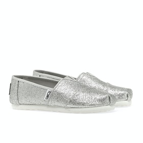 Toms Glimmer Classics Girl's Slip On Trainers - Silver heather