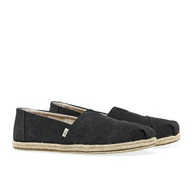 Toms Alpargata Washed Damen Espadrilles - Black Washed Canvas Rope Sole