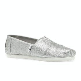 Toms Glimmer Classics Girls Slip On Shoes - Silver heather