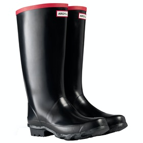 Hunter Field Argyll Full Knee Wellingtons - Black