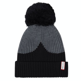 Hunter Moustache Bobble Beanie - Black/grey