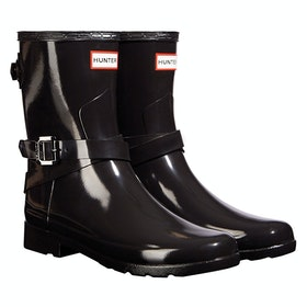 Hunter Ankle Strap Gloss Ladies Wellies - Black